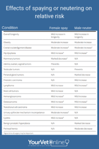 effect of spaying and neutering on relative risk of disease in dogs