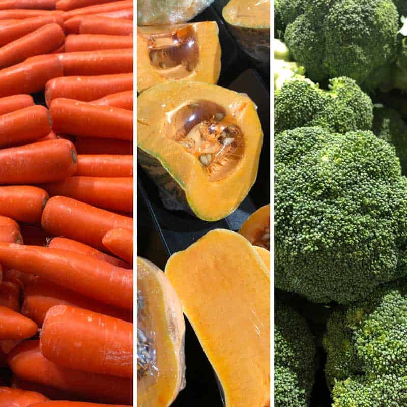 high fibre vegetables carrot broccoli pumpkin