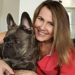 Dr Leigh Davidson with French Bulldog
